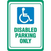 ADA Symbol, Disabled Parking Only - White Sign