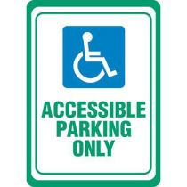 Accessible Symbol, Accessible Parking Only - White Sign