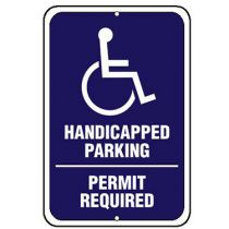 ADA Symbol, Handicapped Parking Permit Required Sign