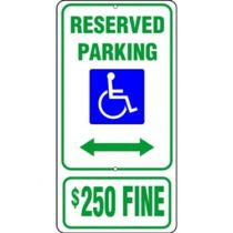 ADA Symbol, Reserved Parking Double Arrow Fine Sign