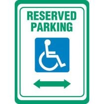 Accessible Symbol, Reserved Parking w/ Double Arrow Sign