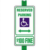 Accessible Symbol Reserved Parking with Fine Sign