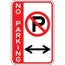 No Parking with Symbol & Double Arrow - Side Bar Sign