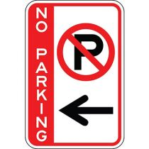 No Parking with Symbol & Left Arrow - Side Bar Sign