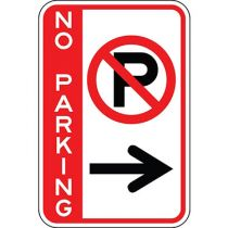 No Parking with Symbol & Right Arrow - Side Bar Sign