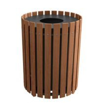 Round Slat Design Receptacle - Wood Grain Naturals