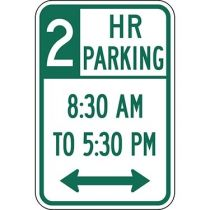 Two Hour Parking with Times 8:30 A.M. to 5:30 P.M. and Double Arrow Sign