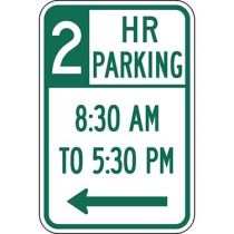 Two Hour Parking with Times 8:30 A.M. to 5:30 P.M. and Left Arrow Sign
