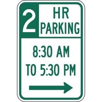 Two Hour Parking with Times 8:30 A.M. to 5:30 P.M. and Right Arrow Sign