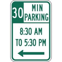 30 Minute Parking with Times 8:30 A.M. to 5:30 P.M. and Left Arrow Sign