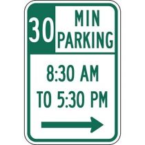 30 Minute Parking with Times 8:30 A.M. to 5:30 P.M. and Right Arrow Sign