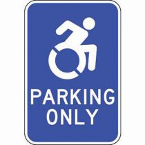 ADA Parking Only Blue Updated Accessible Symbol Sign