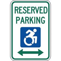 ADA Reserved Parking Double Arrow Updated Accessible Symbol Sign