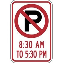 No Parking Symbol with Specific Time 8:30 A.M to 5:30 P.M Sign