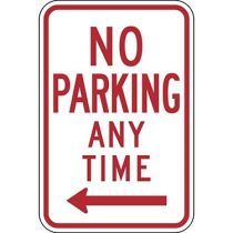 No Parking Anytime with Left Arrow Sign
