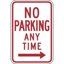 No Parking Anytime with Right Arrow Sign