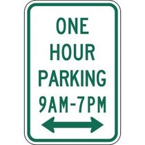 One Hour Parking with Specific Times 9 A.M to 7 P.M. with Double Arrow Sign