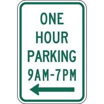 One Hour Parking with Specific Times 9 A.M to 7 P.M. with Left Arrow Sign