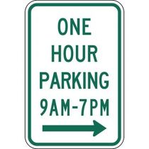 One Hour Parking with Specific Times 9 A.M to 7 P.M. with Right Arrow Sign