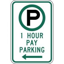 Parking Permitted 1 Hour Pay Parking with Left Arrow Sign