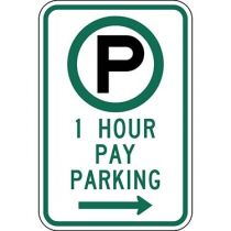Parking Permitted 1 Hour Pay Parking with Right Arrow Sign