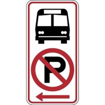 Bus Stop with No Parking Symbol, Left Arrow Sign