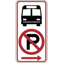 Bus Stop with No Parking Symbol, Right Arrow Sign