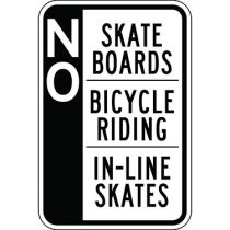No Skate Boards Bicycle Riding In-Line Skates - Side Bar Sign