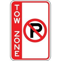 Tow Zone with No Parking Symbol - Side Bar Sign