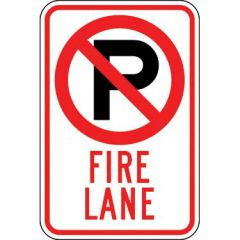 Fire Lane w/ No Parking Symbol Sign