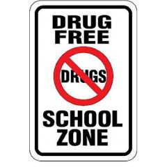 Drug Free School Zone w/Symbol Sign