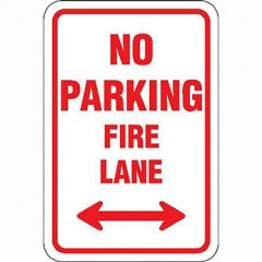 No Parking Fire Lane w/ Double Arrow Sign