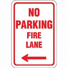 No Parking Fire Lane w/ Left Arrow Sign