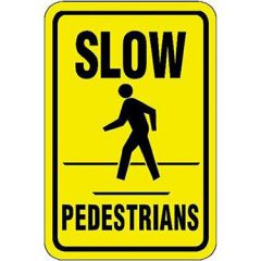 Slow Pedestrians with Pedestrian Symbol Sign