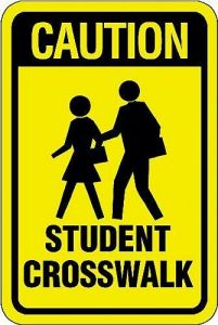 Caution Student Crosswalk Sign