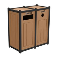 Two-Tone Panel Design Recycling Containers - Two Units