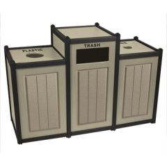 Two-Tone Panel Design Recycling Containers - Triple Units